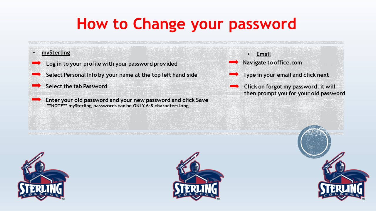 Password Change - View Post | Home | mySterling